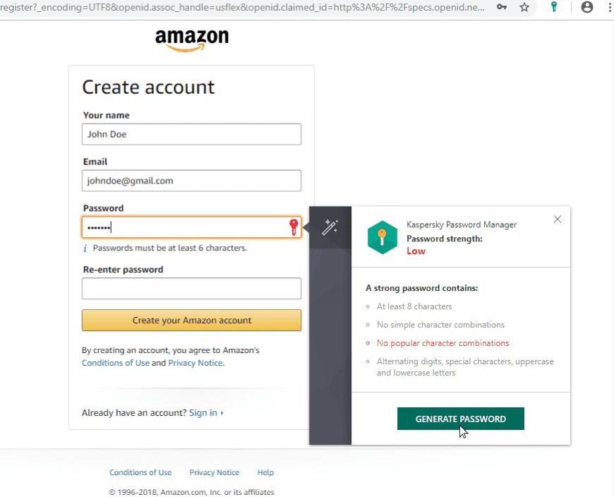 Screenshots Create new accounts faster with Password Generator