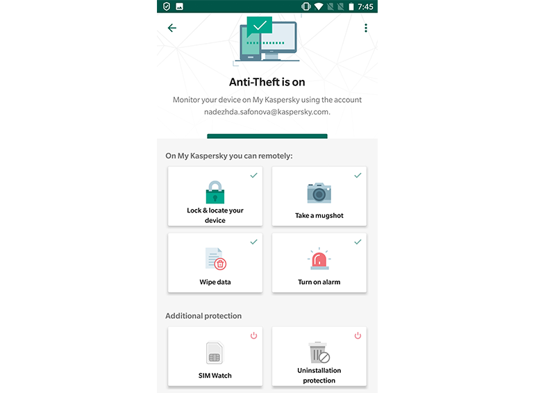 Kaspersky Internet Security for Android Anti Theft
