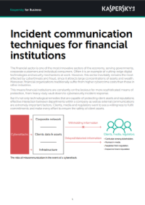 Kasperky Incident Communications for Financial sector