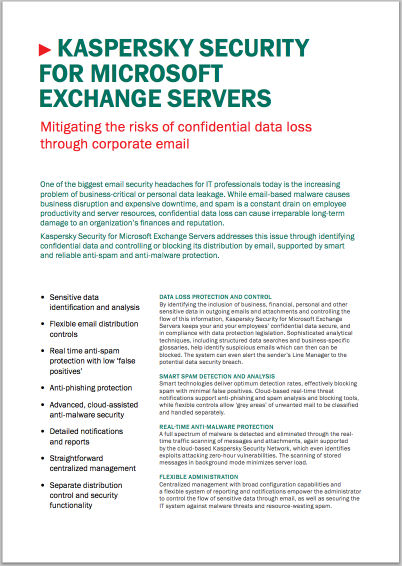 KASPERSKY SECURITY FOR MICROSOFT EXCHANGE SERVERS - DATA SHEET