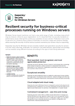 KASPERSKY SECURITY FOR WINDOWS SERVER – DATASHEET